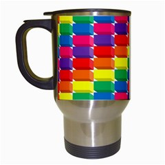 Rainbow 3d Cubes Red Orange Travel Mugs (white)