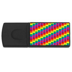 Rainbow 3d Cubes Red Orange Rectangular Usb Flash Drive