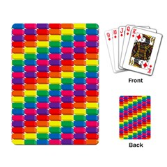 Rainbow 3d Cubes Red Orange Playing Card