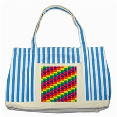 Rainbow 3d Cubes Red Orange Striped Blue Tote Bag