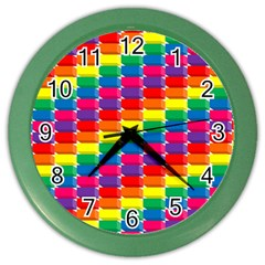 Rainbow 3d Cubes Red Orange Color Wall Clocks