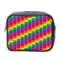 Rainbow 3d Cubes Red Orange Mini Toiletries Bag 2 Side