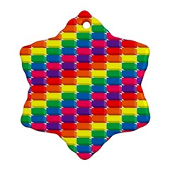 Rainbow 3d Cubes Red Orange Ornament (snowflake)