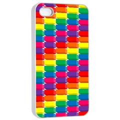 Rainbow 3d Cubes Red Orange Apple Iphone 4/4s Seamless Case (white)
