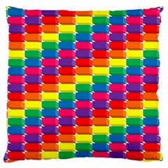 Rainbow 3d Cubes Red Orange Large Cushion Case (two Sides)