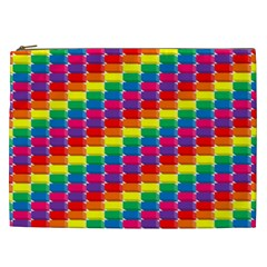 Rainbow 3d Cubes Red Orange Cosmetic Bag (xxl)