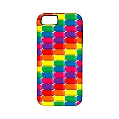 Rainbow 3d Cubes Red Orange Apple Iphone 5 Classic Hardshell Case (pc+silicone)