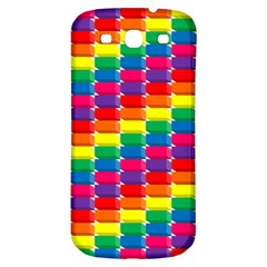 Rainbow 3d Cubes Red Orange Samsung Galaxy S3 S Iii Classic Hardshell Back Case