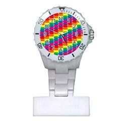 Rainbow 3d Cubes Red Orange Plastic Nurses Watch