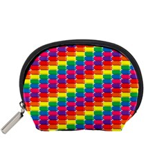 Rainbow 3d Cubes Red Orange Accessory Pouches (small)