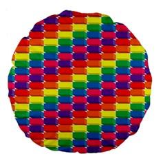 Rainbow 3d Cubes Red Orange Large 18  Premium Flano Round Cushions