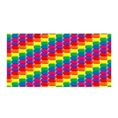 Rainbow 3d Cubes Red Orange Satin Wrap