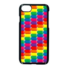 Rainbow 3d Cubes Red Orange Apple Iphone 8 Seamless Case (black)