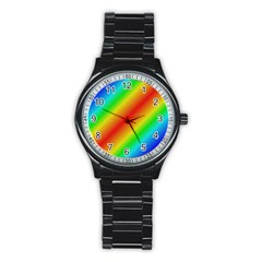 Background Diagonal Refraction Stainless Steel Round Watch