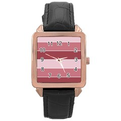 Striped Shapes Wide Stripes Horizontal Geometric Rose Gold Leather Watch