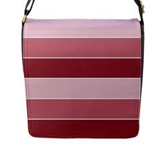 Striped Shapes Wide Stripes Horizontal Geometric Flap Messenger Bag (l)