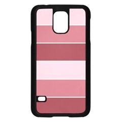 Striped Shapes Wide Stripes Horizontal Geometric Samsung Galaxy S5 Case (black)
