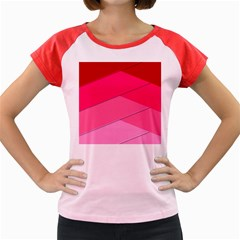 Geometric Shapes Magenta Pink Rose Women s Cap Sleeve T Shirt