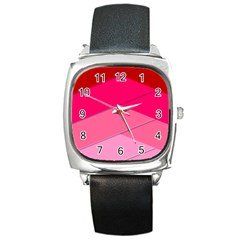 Geometric Shapes Magenta Pink Rose Square Metal Watch