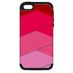 Geometric Shapes Magenta Pink Rose Apple Iphone 5 Hardshell Case (pc+silicone)
