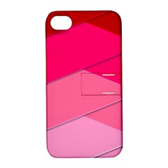 Geometric Shapes Magenta Pink Rose Apple Iphone 4/4s Hardshell Case With Stand