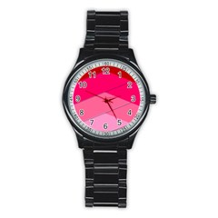 Geometric Shapes Magenta Pink Rose Stainless Steel Round Watch