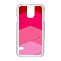 Geometric Shapes Magenta Pink Rose Samsung Galaxy S5 Case (white)