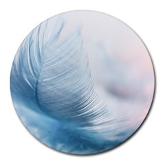 Feather Ease Slightly Blue Airy Round Mousepads