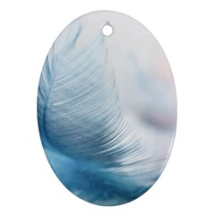 Feather Ease Slightly Blue Airy Ornament (oval)