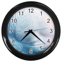 Feather Ease Slightly Blue Airy Wall Clocks (black)