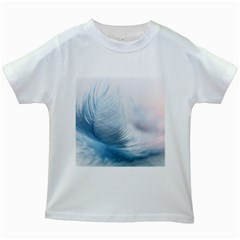 Feather Ease Slightly Blue Airy Kids White T Shirts