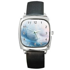 Feather Ease Slightly Blue Airy Square Metal Watch