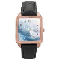 Feather Ease Slightly Blue Airy Rose Gold Leather Watch