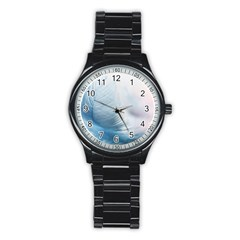 Feather Ease Slightly Blue Airy Stainless Steel Round Watch