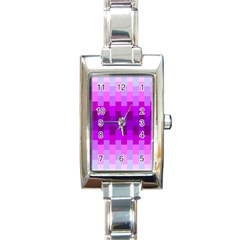 Geometric Cubes Pink Purple Blue Rectangle Italian Charm Watch