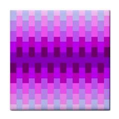 Geometric Cubes Pink Purple Blue Tile Coasters