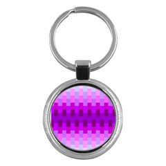 Geometric Cubes Pink Purple Blue Key Chains (round)
