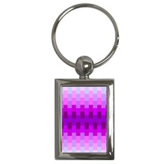 Geometric Cubes Pink Purple Blue Key Chains (rectangle)