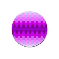 Geometric Cubes Pink Purple Blue Magnet 3  (round)