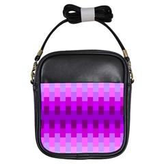 Geometric Cubes Pink Purple Blue Girls Sling Bags