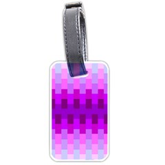Geometric Cubes Pink Purple Blue Luggage Tags (one Side)  by Nexatart