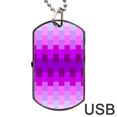 Geometric Cubes Pink Purple Blue Dog Tag Usb Flash (one Side)