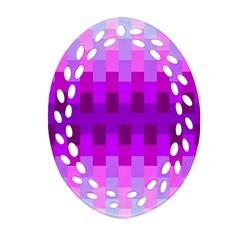 Geometric Cubes Pink Purple Blue Oval Filigree Ornament (two Sides)