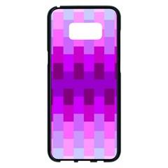 Geometric Cubes Pink Purple Blue Samsung Galaxy S8 Plus Black Seamless Case