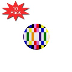 Rainbow Color Blocks Red Orange 1  Mini Magnet (10 Pack)