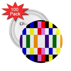 Rainbow Color Blocks Red Orange 2 25  Buttons (100 Pack)