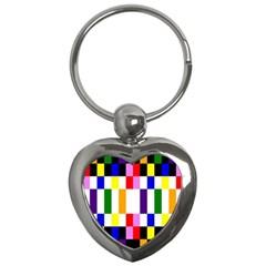 Rainbow Color Blocks Red Orange Key Chains (heart)