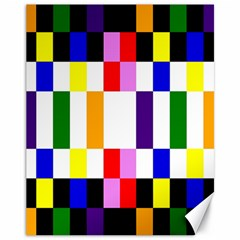 Rainbow Color Blocks Red Orange Canvas 11  X 14