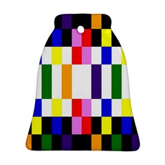 Rainbow Color Blocks Red Orange Bell Ornament (two Sides)