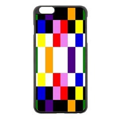 Rainbow Color Blocks Red Orange Apple Iphone 6 Plus/6s Plus Black Enamel Case